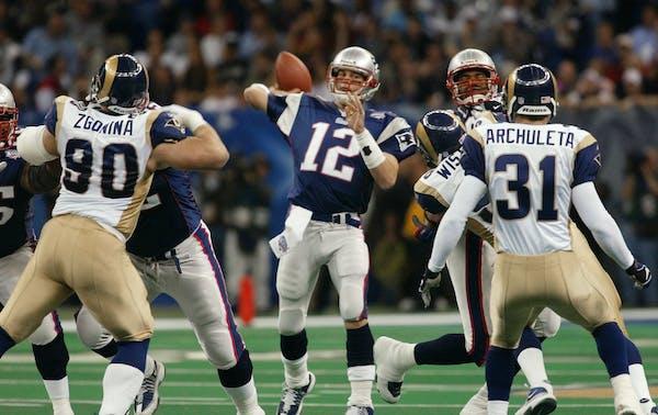 Patriots quarterback Tom Brady threw against the Rams in Super Bowl XXXVI in New Orleans.