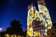 The British company Luxmuralis, which is producing the projection at the Cathedral of St. Paul, created this one at Westminster Abbey to celebrate Cha