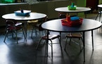 An empty classroom at an elementary school in Baltimore after closing during the coronavirus pandemic, April 14, 2020. Across the U.S., some large sch
