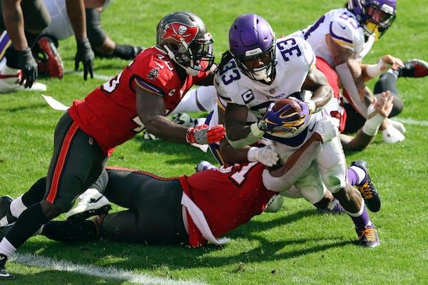 Vikings running back Dalvin Cook during a second-quarter touchdown run.