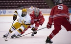 Gophers forward Ben Meyers (39) skated during the team's win over Ohio State on Nov. 24.