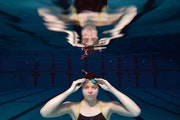 Junior Grace Hanson of Hutchinson, the Star Tribune Metro Girls' Swimmer of the Year, posed for a portrait underwater in the pool at Hutchinson Midd
