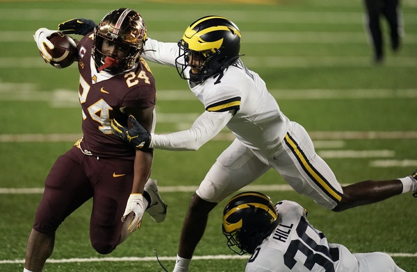 Gophers junior Mohamed Ibrahim (24) ran for a touchdown against Michigan on Oct. 24.