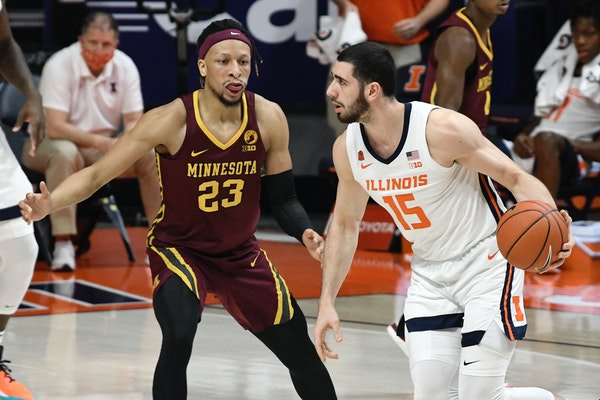 Gophers senior graduate transfer Brandon Johnson's quick recovery from an ankle injury was a bright spot Tuesday, when he had eight points, eight re
