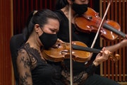 Violinist Maureen Nelson played during a recent livestream by the St. Paul Chamber Orchestra.