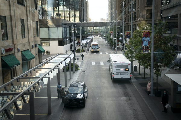 Small and independent businesses in downtown Minneapolis will be eligible for grant money. Shown is Nicollet Mall in October. (RENEE JONES SCHNEIDER,
