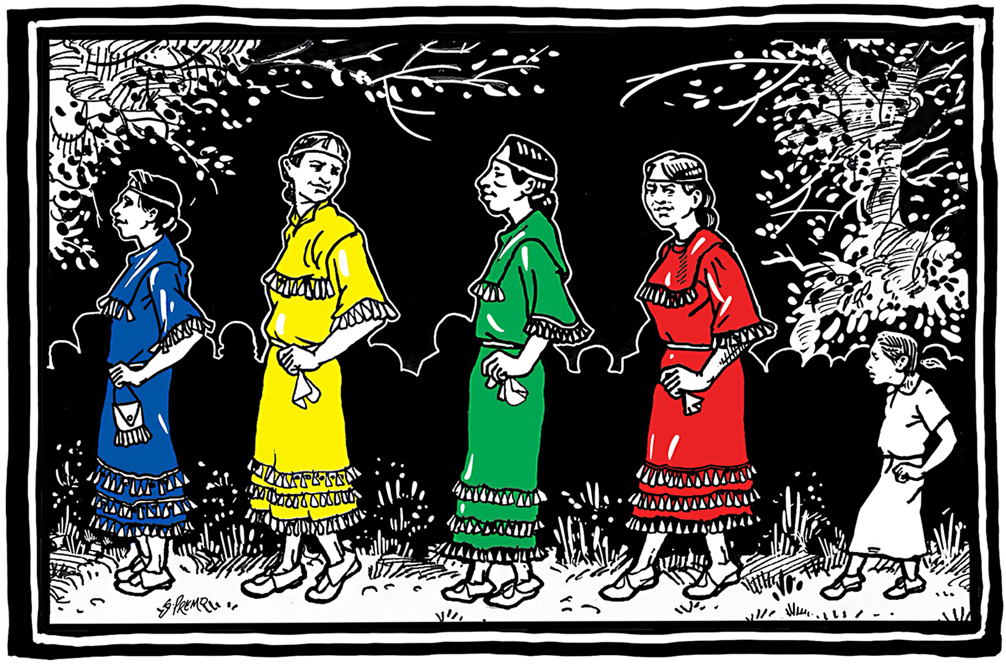 An illustration depicts the origin of the Jingle Dress Dance Tradition, which emerged from the vision of a father whose daughter had fallen ill and appeared to be near death, but recovered her health.