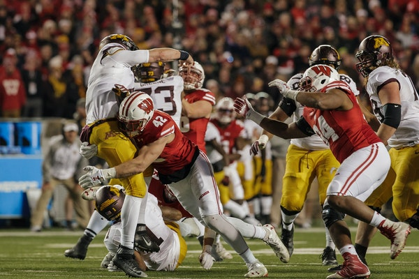 When the Gophers and Badgers play, you can expect a physical game. This photo is from 2016 in Madison.