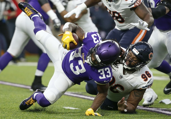 Akiem Hicks, making a tackle in a 2018 game in Minneapolis, has long been a challenge for the Vikings' Dalvin Cook (33).