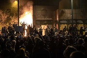 The Minneapolis Third Police Precinct station was set on fire during a third night of protests following the death of George Floyd while in Minneapoli