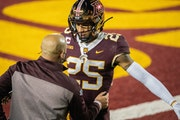 Mark Vancleave • Star Tribune Gophers coach P.J. Fleck consoled cornerback Benjamin St-Juste after the team's loss to Michigan on Oct. 24.