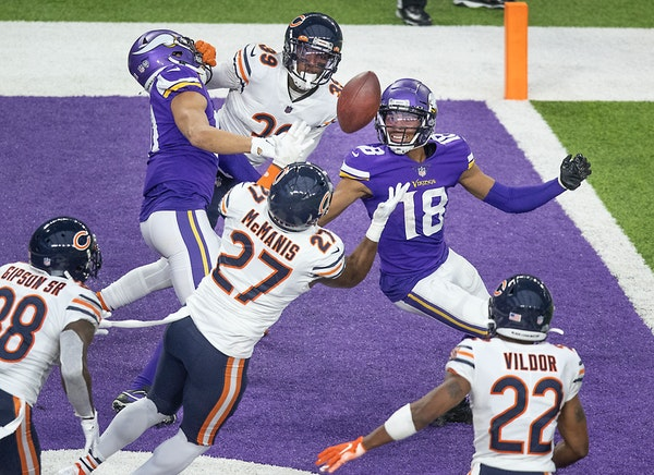 Bears defensive back Sherrick McManis intercepted a Hail Mary pass intended for Vikings wide receiver Justin Jefferson at the end of the Sunday's ga