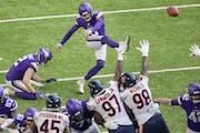 Vikings kicker Dan Bailey made a field goal in the second quarter Sunday vs. the Bears.