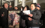 ChaMee Vue tearfully addressed relatives and friends during a candlelight vigil outside her family's home on Dec. 17, 2019, held in honor of her fat