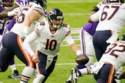 Bears quarterback Mitchell Trubisky gained 144 of his 202 passing yards after fake handoffs Sunday.