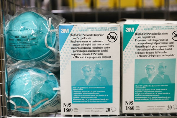 FILE — Masks that meet the N95 filtration standard in a storeroom at a hospital in Sarasota, Fla., on March 10, 2020.