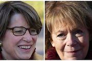 Minnesota U.S. Sens. Amy Klobuchar, left, and Tina Smith signed a letter protesting an executive order.