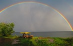 First place: Dale K. Mize of Plymouth spied a full rainbow over Lake Superior at Flood Bay, near Two Harbors, Minn.