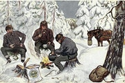 A Gold Medal Flour postcard from 1919 depicted a winter scene in Norway.