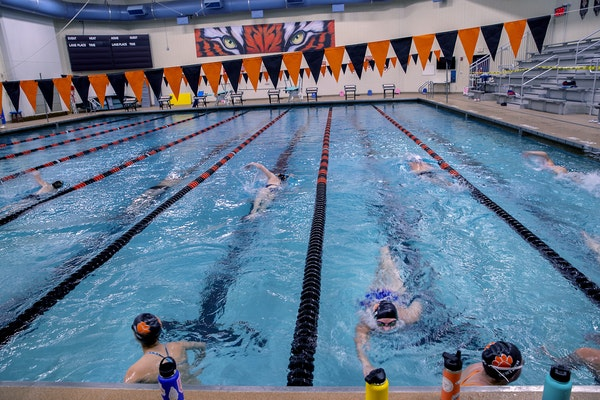 The Farmington girls' swimming team practiced at Dodge Middle School on June 15, the first day summer workouts were allowed during the pandemic. Suc