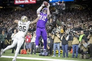Vikings tight end Kyle Rudolph caught the winning touchdown in overtime against the Saints in New Orleans in January.
