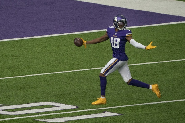 Justin Jefferson celebrated his first NFL touchdown, a 71-yard reception against Tennessee on Sept. 27 at U.S. Bank Stadium.