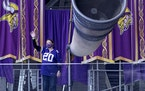 Erika Rucks of Andover waved from the Gjallarhorn before the Minnesota Vikings' Oct. 18 game.  The 40-year-old nurse isn't putting off making memo