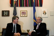 Mark Dayton, then a Minnesota Senator, speaks with Jon Pratt, executive director of Minnesota Council of Nonprofits, in 2003 in his Washington, D.C. o