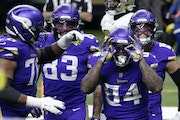 Vikings tight end Irv Smith Jr. (84) celebrated one of his two touchdown catches against the Saints, who reveled more.