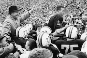 Gophers football players celebrated their decisive 27-10 victory over No. 1 Iowa on Nov. 5, 1960. The Gophers earned the national championship and a b