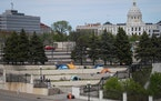 Tents were set up on cement stairs between the History Center andCatholicCharitiesand in the shadow of the State Capitol inSt.Paulon March