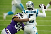 D.J. Wonnum, shown sacking Panthers quarterback Teddy Bridgewater, has played and produced more than any rookie Vikings defensive lineman since Daniel