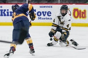 Hermantown defenseman Jackson Lucia (4) blocked a shot by Mahtomedi's Max Pieper (12) in the Class 1A boys' hockey state championship game last Ma