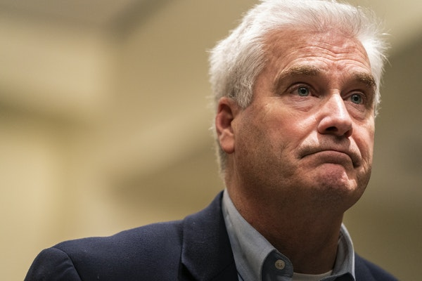 In this October 2019 file photo, U.S. Rep. Tom Emmer (R-Minn) hosted a town hall meeting at Blaine City Hall. ]  LEILA NAVIDI • leila.navidi@startri