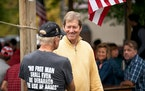 Jason Lewis spoke to the crowd at Reagan Day at the Ranch, a Republican event held annually in Taylors Falls earlier this year.