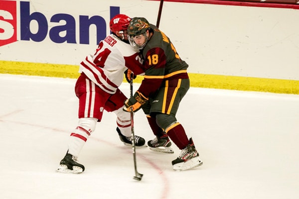 Arizona State's Jax Murray, right, a former Elk River standout, battled Wisconsin's Anthony Kehrner during a November game in Madison, Wis.