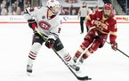 St. Cloud State freshman forward Veeti Miettinen collected four goals and four assists during the Huskies' time in the Omaha Pod.
