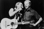 "Then President Jimmy Carter, right, and singer Willie Nelson sang ""Amazing Grace"" together."