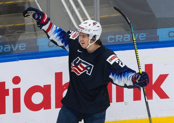 United States' Ryan Johnson celebrates his goal against Sweden during the second period of an IIHF World Junior Hockey Championship game Thursday, D