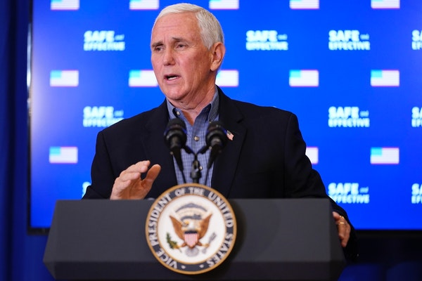 Vice President Mike Pence speaks after receiving a Pfizer-BioNTech COVID-19 vaccine shot at the Eisenhower Executive Office Building on the White Hous