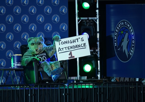 Timberwolves mascot Crunch, always ready to entertain, will have an audience to fire up Monday night when the Wolves welcome fans back.