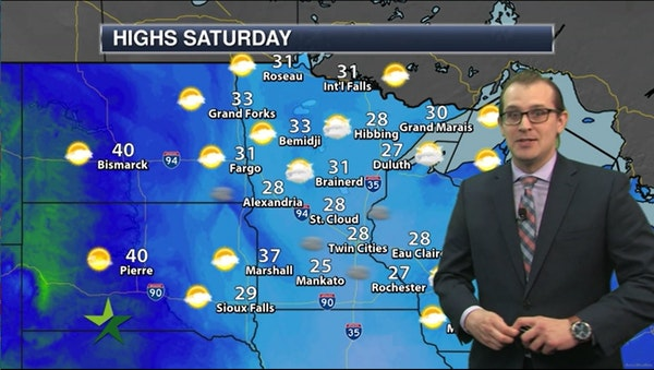 Morning forecast: High of 28, cloudy