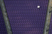 Vikings videographer Andrew McCarthy had an entire section to himself as he watched the team warm up as they prepared to play Chicago
