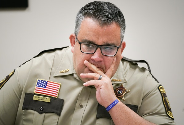"Hennepin County Sheriff Dave Hutchinson, shown in 2019. Hutchinson  said Saturday that he was releasing the video to ""clarify"" what happened."