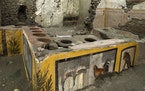 An undated photo made available by the Pompeii Archeological park press office shows the thermopolium in the Pompeii archeological park, near Naples,