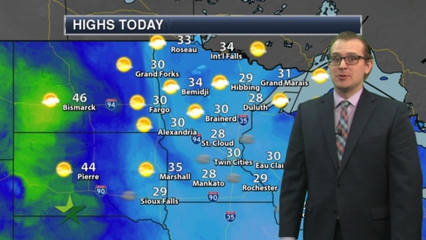 Afternoon forecast: Mostly sunny, high 30