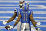 The Lions' Marvin Jones and Mohamed Sanu — receivers Vikings coach Mike Zimmer knows well  — roamed free in the Vikings secondary. Jones had eig