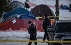 Minneapolis police are investigating a man's death at the homeless encampment alongMinnehahaPark Drive, a police spokesman said Sunday afternoon