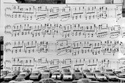"""The  wall of the former Schmitt Music Co. is shown shortly after it was repainted with the """"Gaspard de la Nuit"""" musical score in August 1972. It o"""