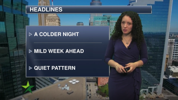 Evening forecast: Mostly clear, low around 17